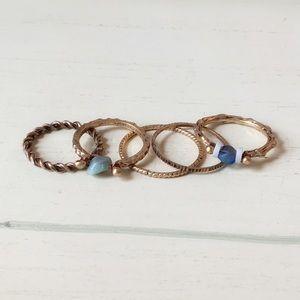 Natural Stone Vintage Matte Midi Knuckle Ring Set